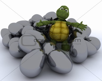 tortoise with easter eggs
