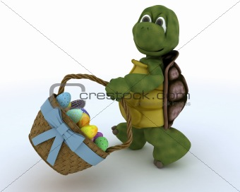 tortoise with basket of easter eggs