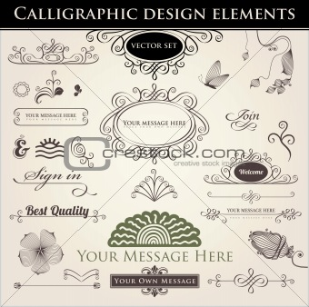 Vector set. Calligraphic design. Elements and page decoration.
