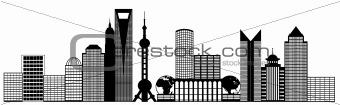 Shanghai City Pudong Skyline Panorama Clip Art