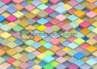 abstract 3d render backdrop cubes in multiple rainbow color