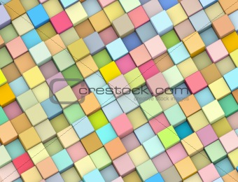 abstract 3d render backdrop cubes in multiple soft rainbow color