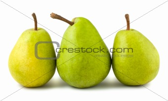 Three ripe green pears