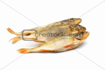 Three dried fish, isolated