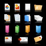 Print & Office Icons / / Black Background