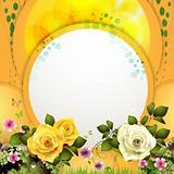 Yellow background with flowers