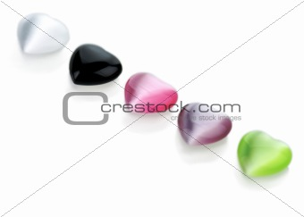 Colorful heart gems assortment