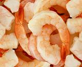 Peeled prawns background 