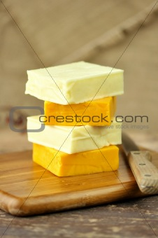a stack of cheese
