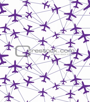 Flying airplane, vector illustration.
