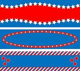 EPS8 Vector 3 Red White Blue Star Striped Backgrounds