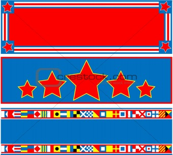 EPS8 Vector 3 Red White Blue Banners with Copy Spaces