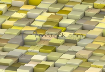 abstract backdrop 3d render cubes in shades of yellow