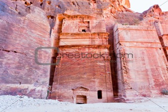 Nabatean tombs in the Siq, Petra