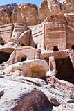 ancient stone houses on Facade Street in Petra