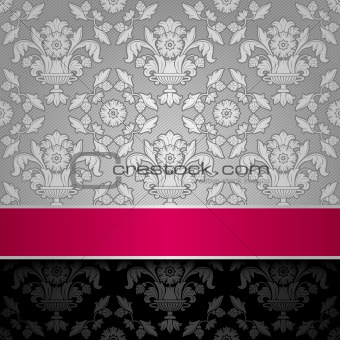 seamless decorative background silver with a pink ribbon