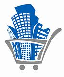 Shopping cart with buildings