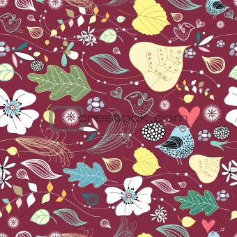 pattern of leaves and birds