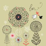 floral background with birds in love