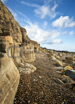 Beautiful coastal landscape looking along cliff face