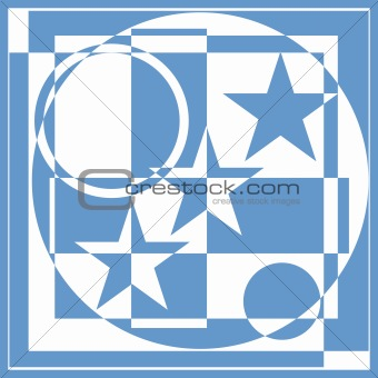 Geometric pattern with stars and circles.