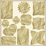 set of foil cut golden shiny vintage tags,  crumpled paper tex