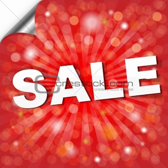 Red Sale Poster With Bokeh