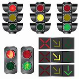 Set of traffic lights.
