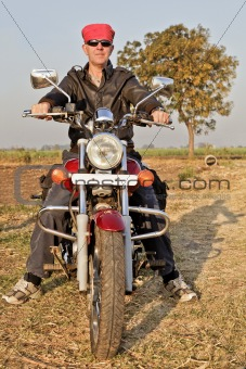 portrait of European Biker in India