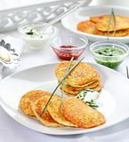 Potatoe pancakes with three dips