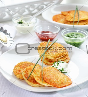 Potatoe pancakes with three dips