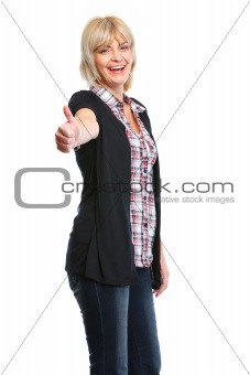 Older woman showing thumbs up gesture