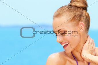 Portrait of charming young woman smiling