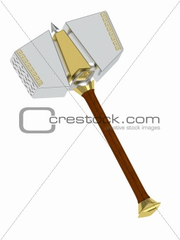 3D ancient hammer isolated on white background