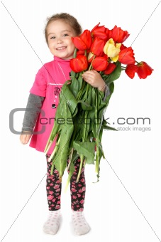 little girl with a huge bouquet of tulips