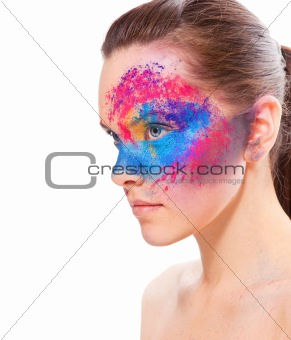 girl with a bright colored make-up