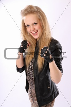 Blond girl is ready for battle