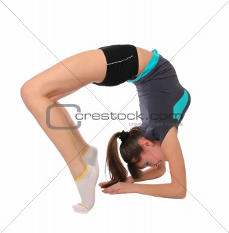 teenage girl in gymnastics poses