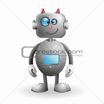 Cute cartoon Robot isolated on a white background