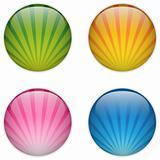 Glass Circle Button Colorful Stripes