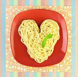 I love Pasta / Spaghetti with plate and tablecloth / Heart Shape