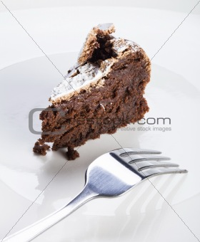 Slice of flourless chocolate cake