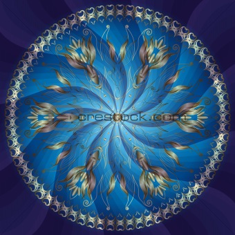 Blue and gold round frame