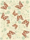 brown butterflies seamless pattern