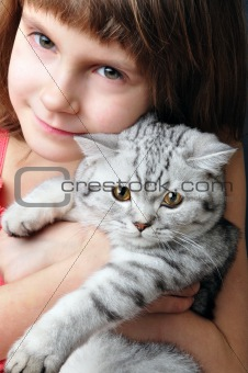 child hugging silver white cat kitten