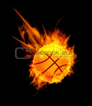 Basketball Ball on Fire on black background. Vector illustration