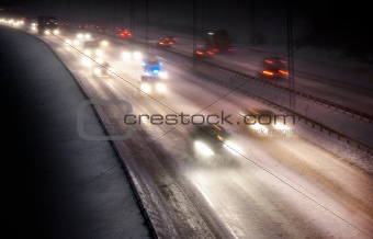Traffic in snowstorm