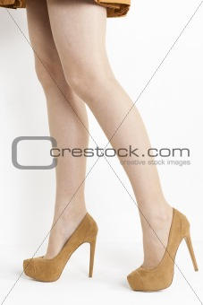 detail of standing woman wearing brown pumps