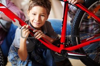 Boy with mountain bike
