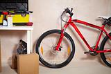 Mountain bike in garage
